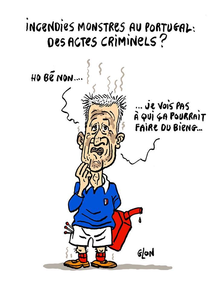 dessin humoristique de Didier Deschamps, pyromane du Portugal