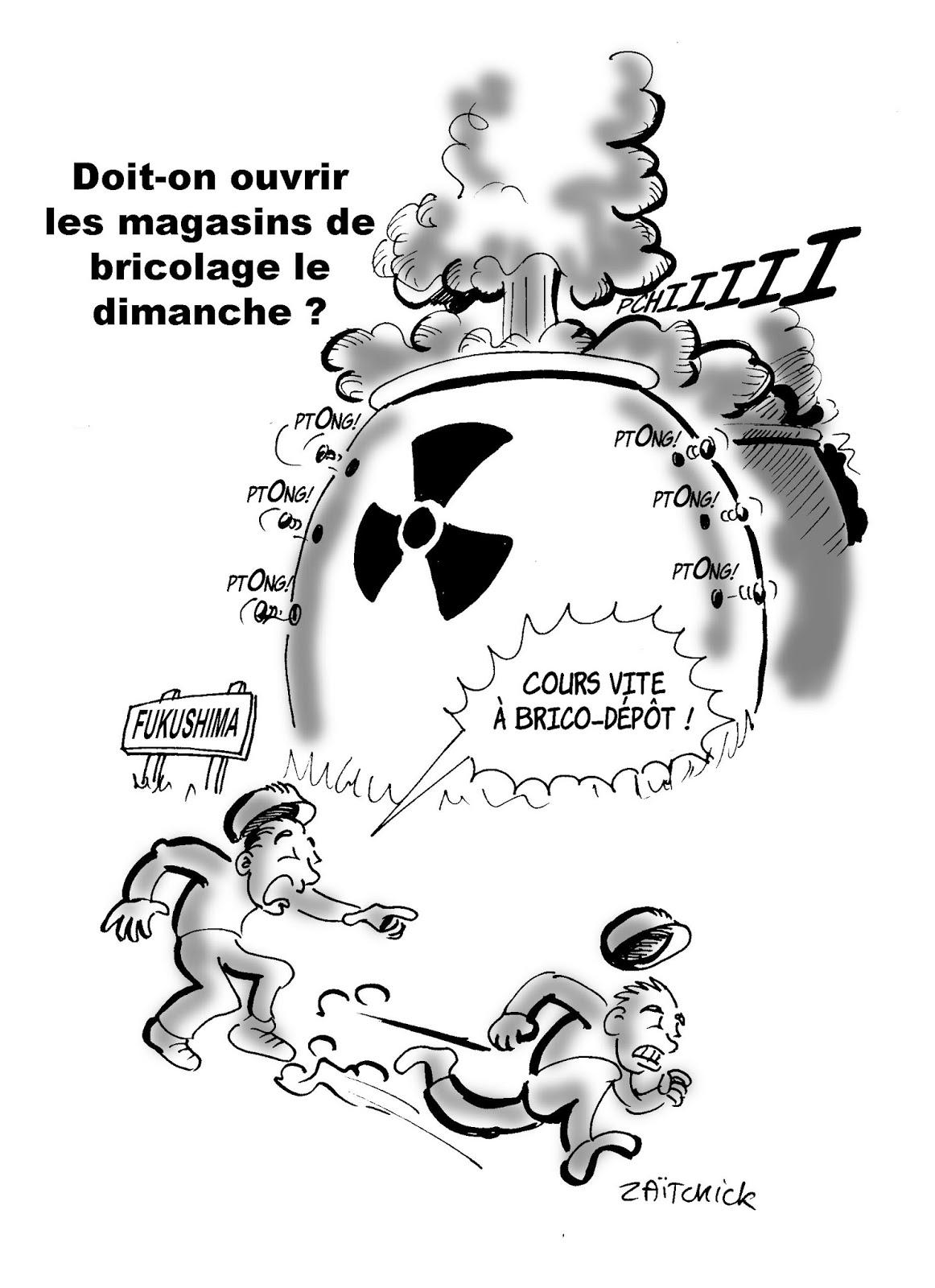dessin humoristique de la catastrophe de Fukushima qui peut être évitée par l'ouverture des magasins de bricolage le dimanche