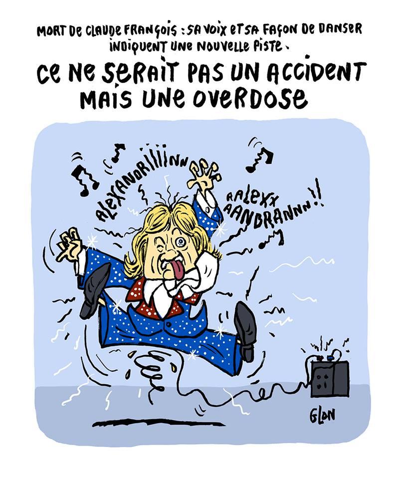 dessin humoristique de l'électrocution de Claude François