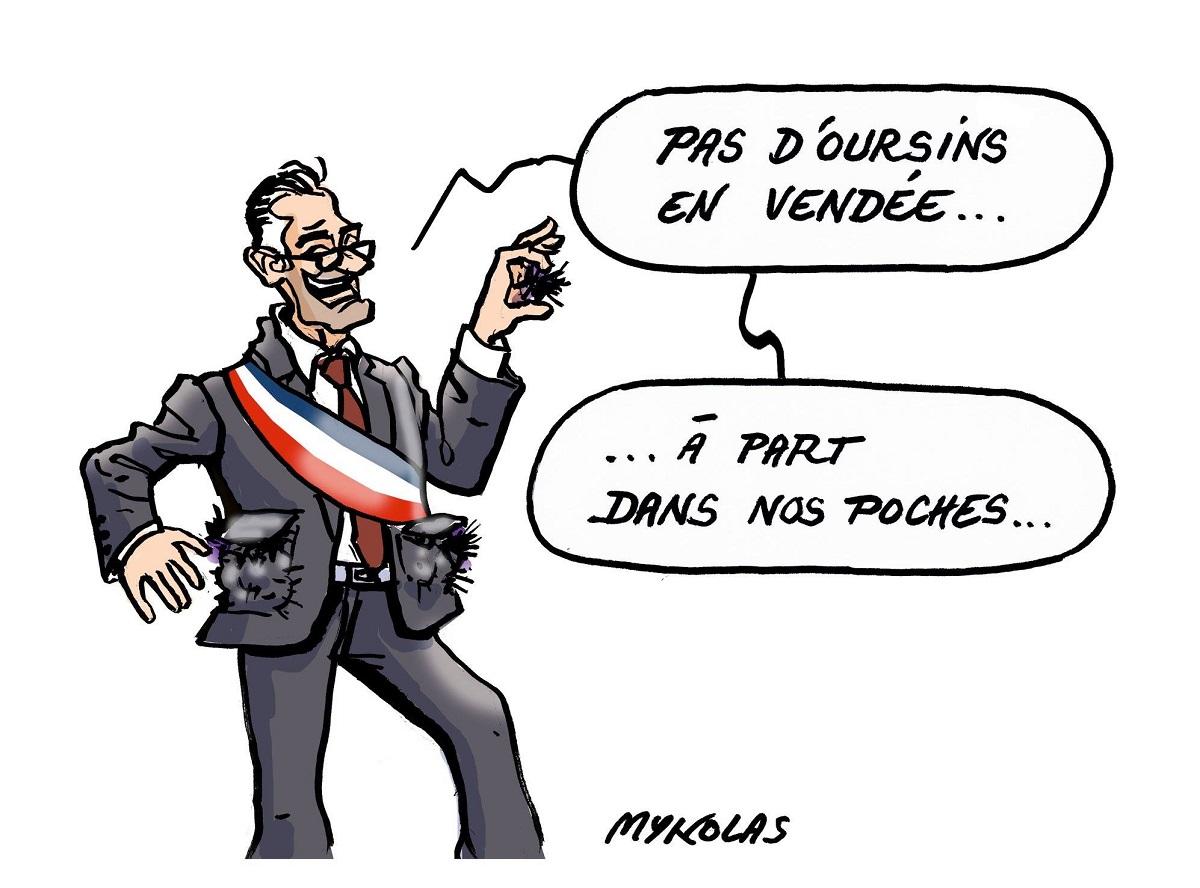 dessin humoristique d'un élu vendéen avec des oursins dans les poches