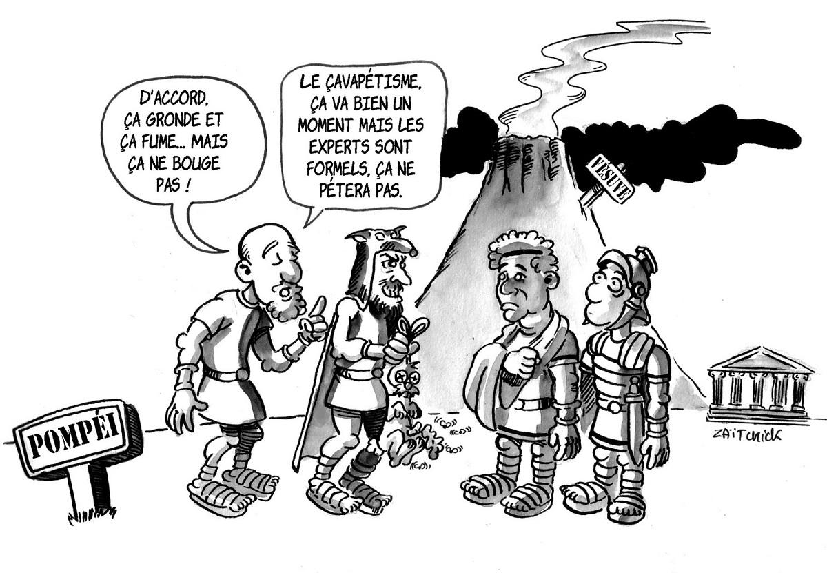 dessin humoristique des experts à Pompéi prédisant que le Vésuve n'entrera pas