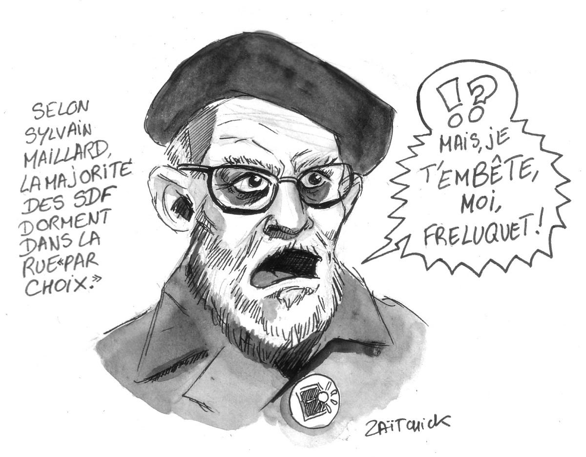 dessin humoristique de l'Abbé Pierre commentant la réflexion de Sylvain Maillard sur les SDF