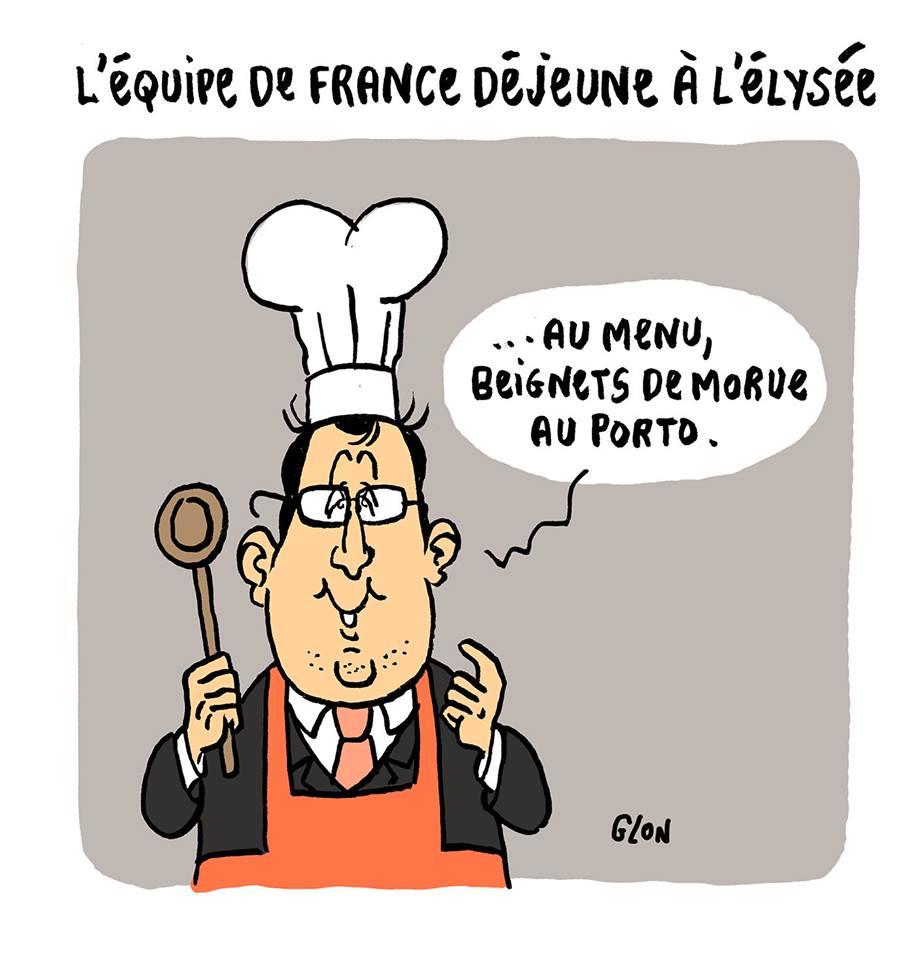 dessin d'actualité humoristique montrant François Hollande s'apprêtant à recevoir l'équipe de France après l'Euro 2016