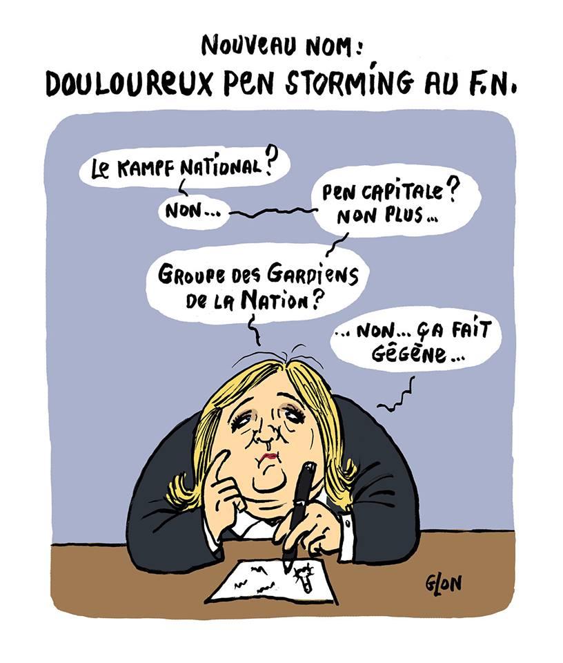 dessin humoristique de Marine Le Pen réfléchissant au nouveau nom du Front National