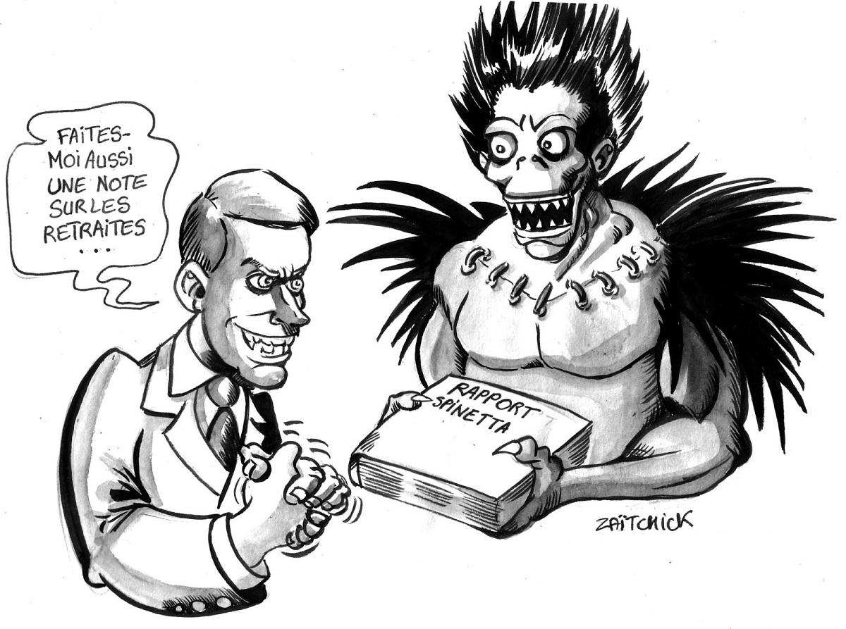 dessin humoristique de la remise du rapport Spinetta à Emmanuel Macron