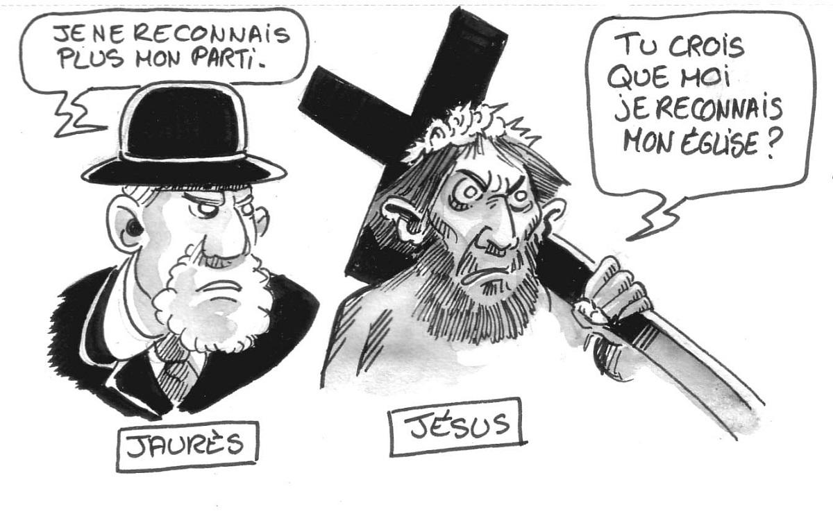 dessin humoristique de Jean Jaurès et Jésus-Christ parlant de l'évolution de leur héritage