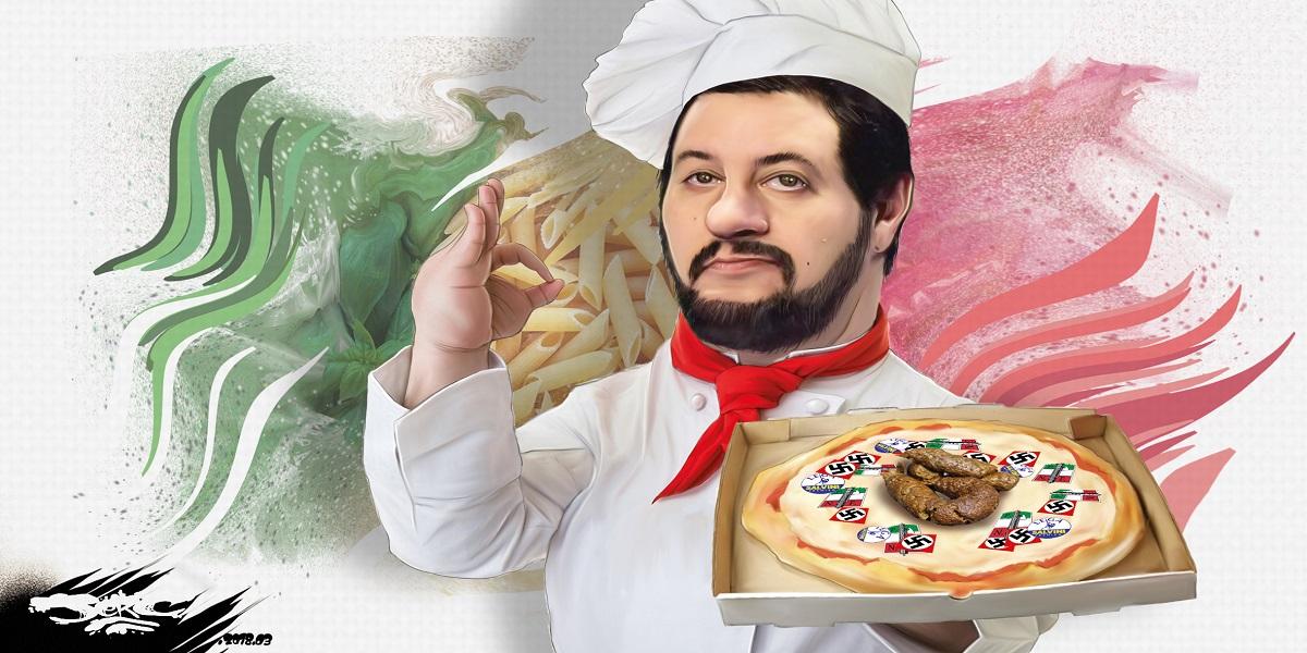 dessin humoristique de Matteo Salvini, grand vainqueur des élections en Italie, déguisé en pizzaïolo