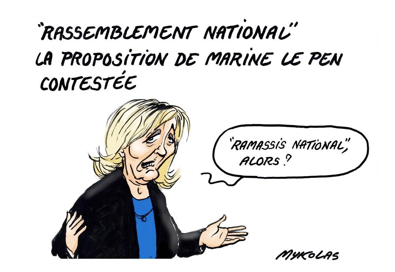 dessin humoristique de Marine Le Pen proposant un nouveau nom pour son parti