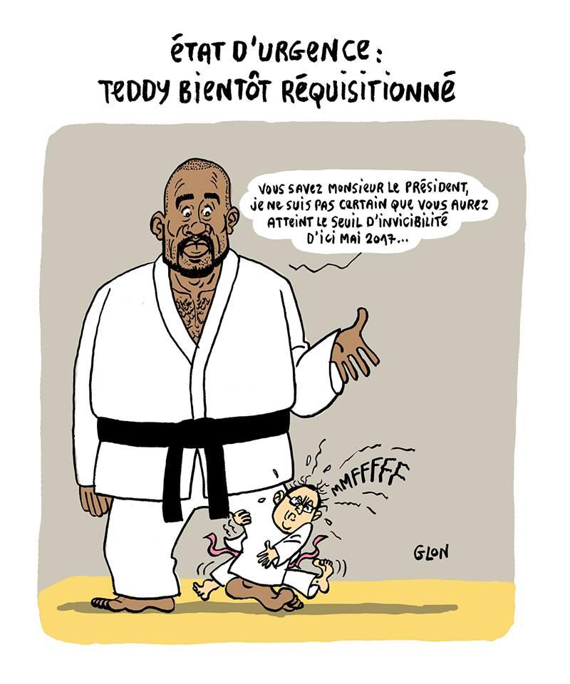 dessin humoristique de François Hollande tentant de battre Teddy Riner au judo