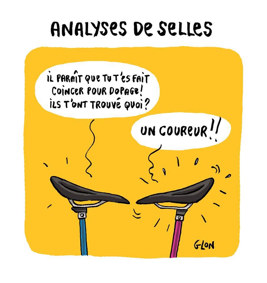 dessin d'actualité humoristique illustrant le dopage dans le cyclisme