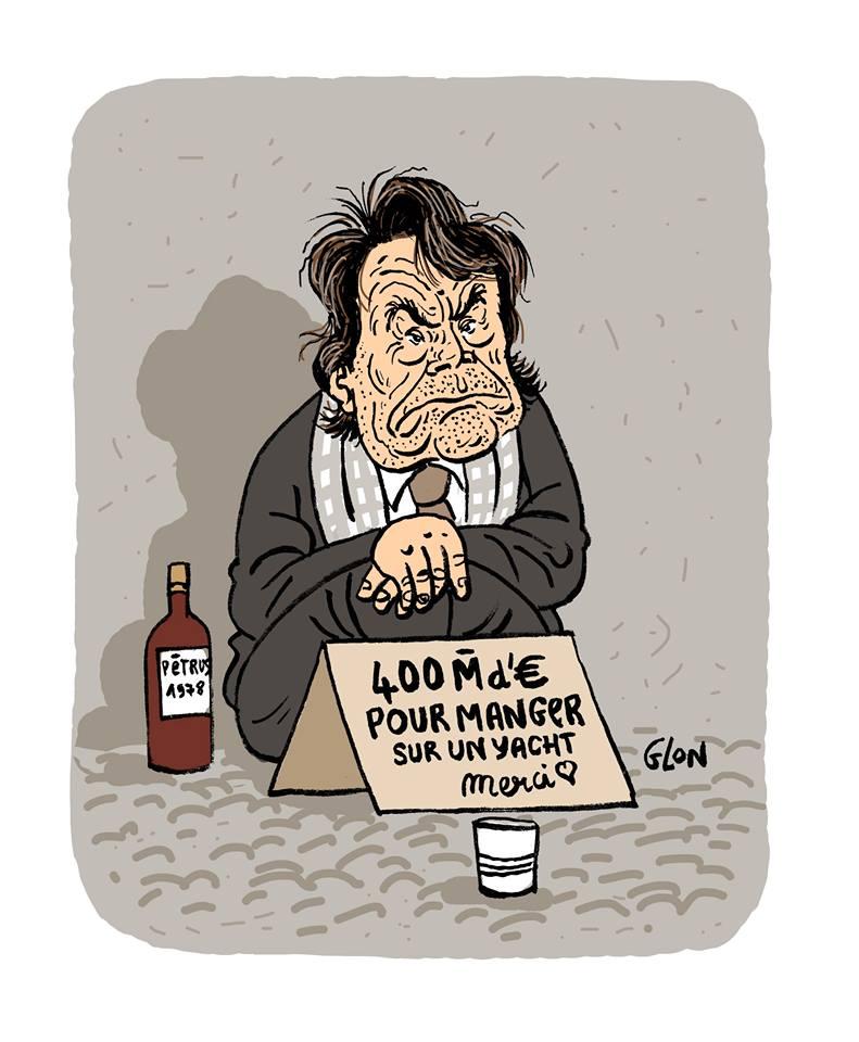 dessin d'actualité humoristique montrant Bernard Tapie en train de mendier pour son yacht