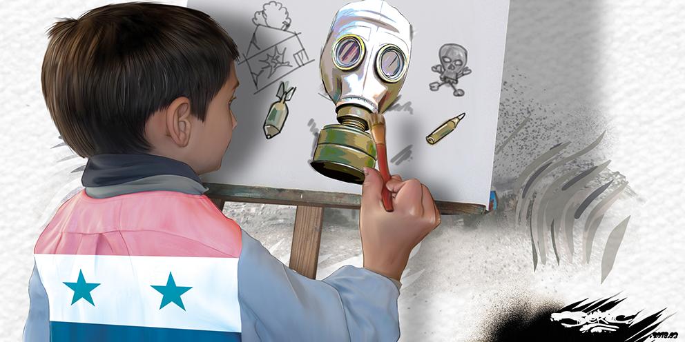 dessin humoristique d'un enfant Syrien dessinant la guerre en Syrie