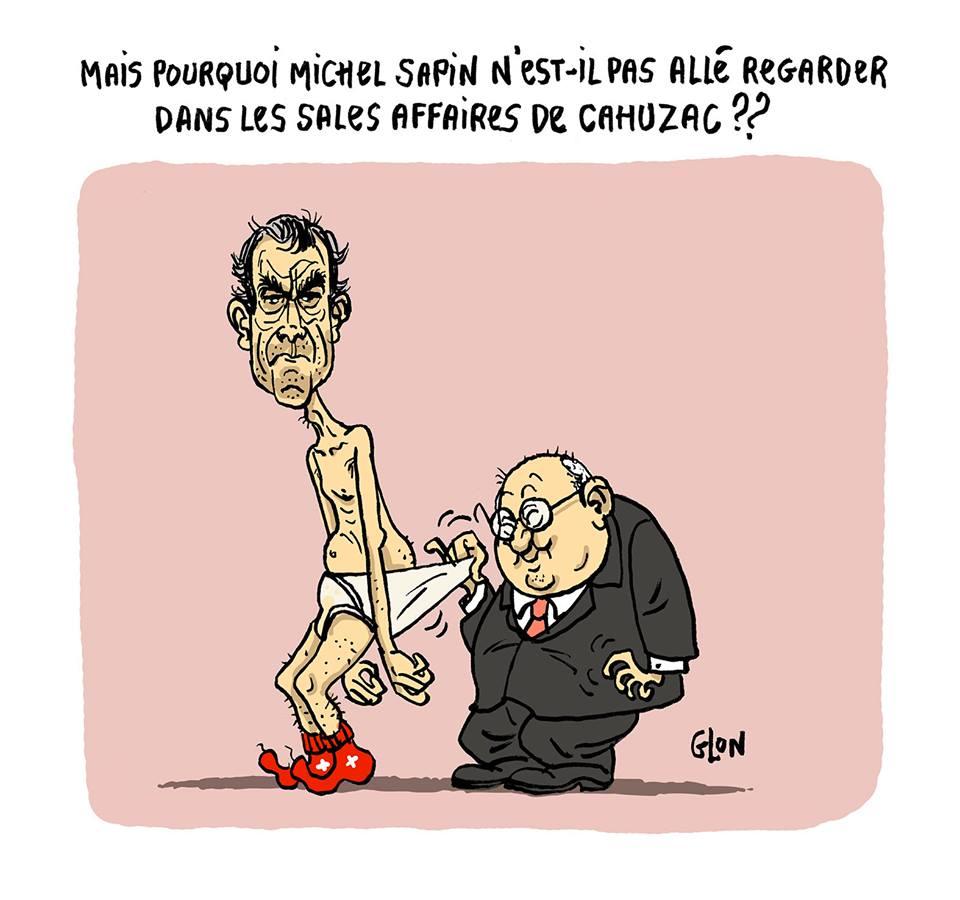 dessin humoristique de Michel Sapin en train d'examiner le caleçon de Jérôme Cahuzac