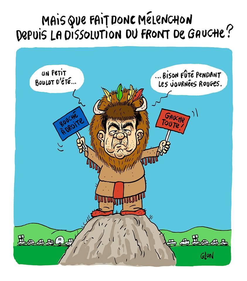 dessin humoristique de Jean-Luc Mélenchon en Bison Fûté