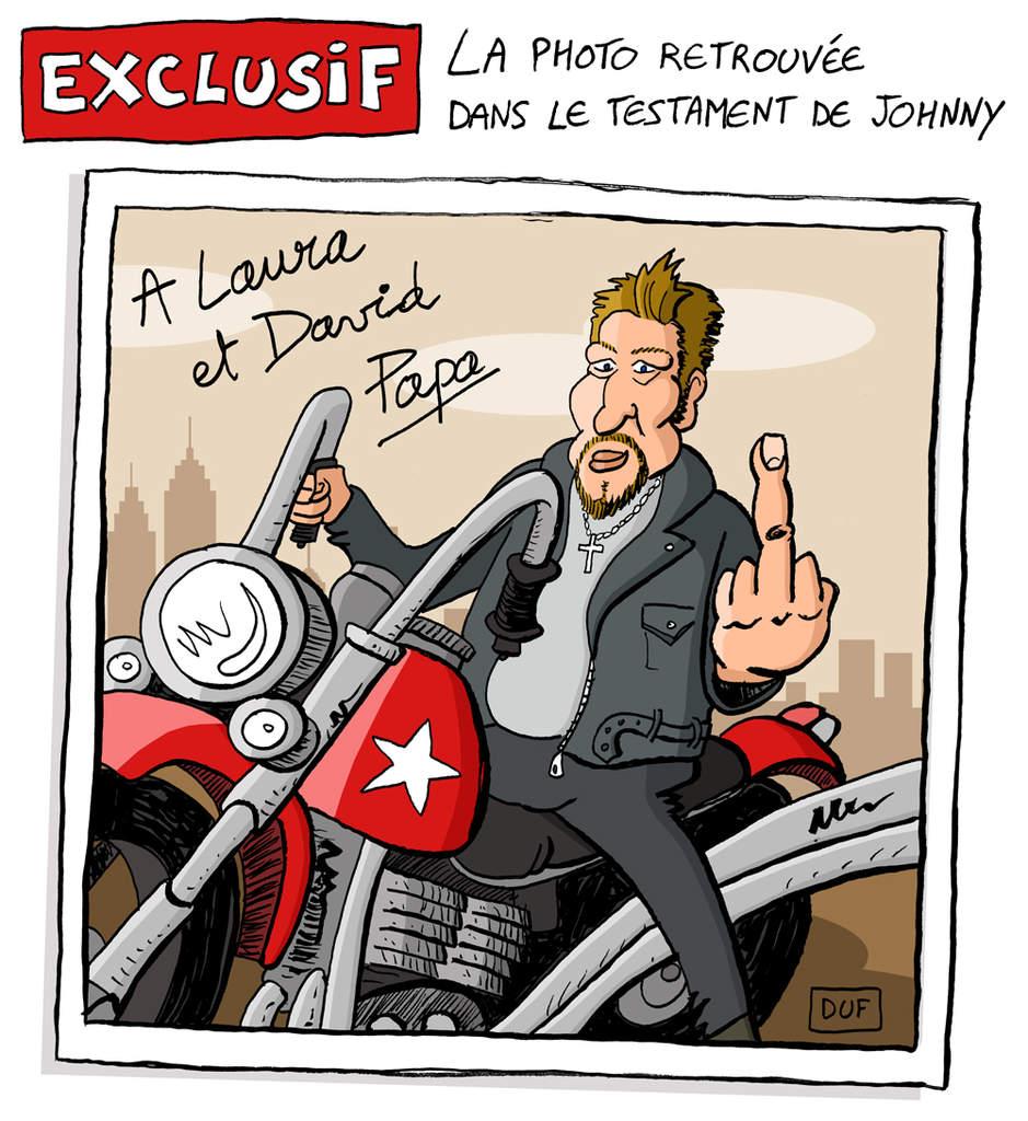 dessin d'actualité humoristique illustrant le problème autour de l'héritage de Johnny Hallyday