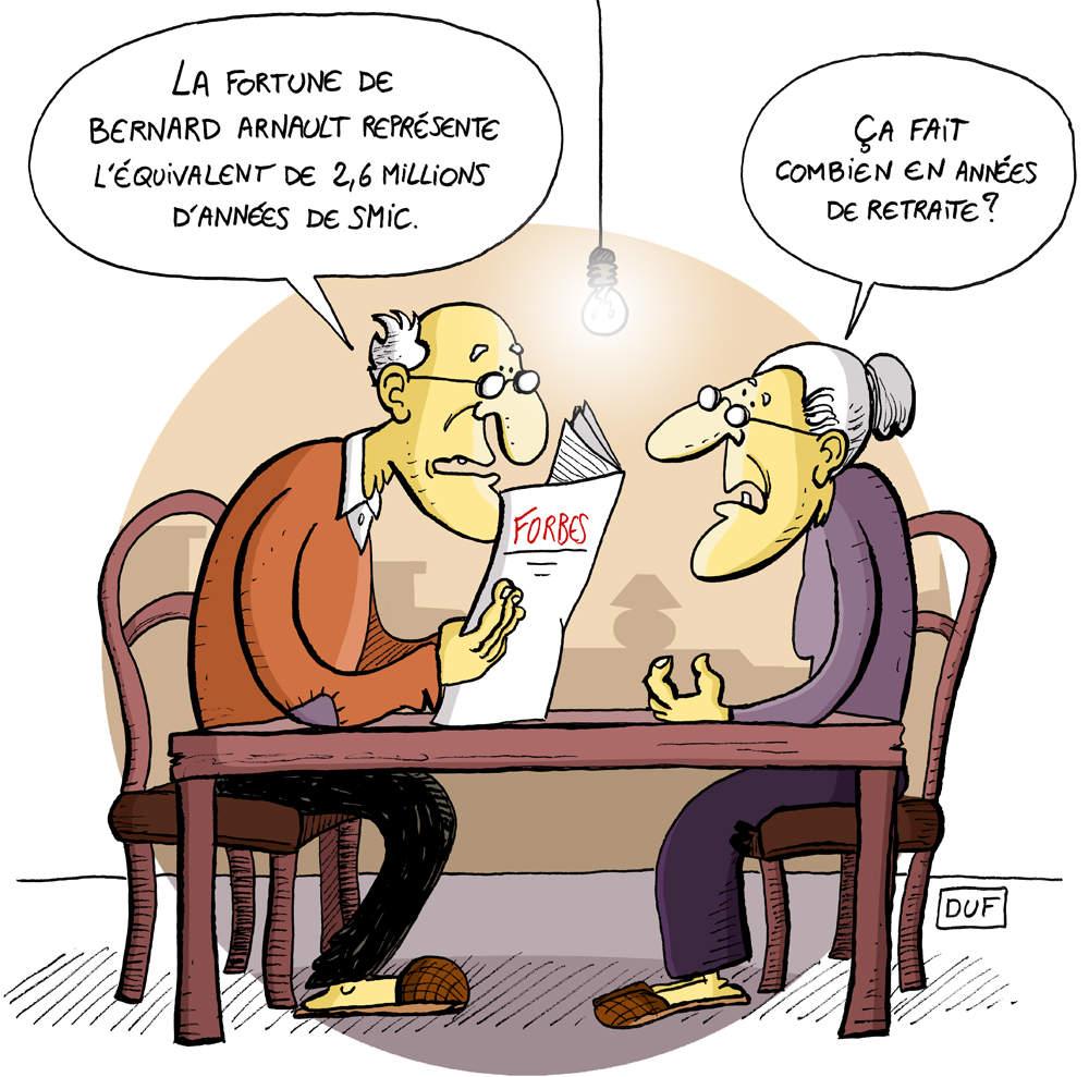 dessin humoristique de retraités parlant de la fortune de Bernard Arnault