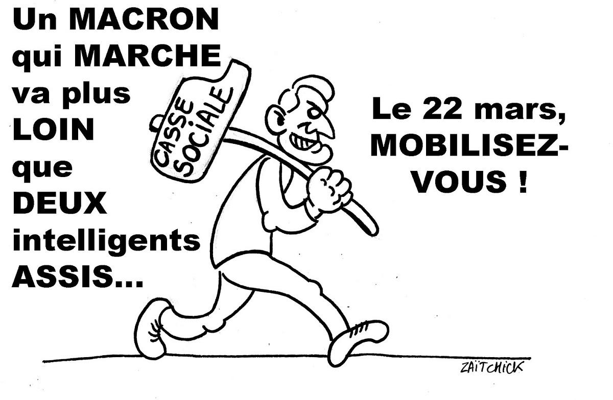 dessin humoristique d'Emmanuel Macron en Marche avec la Casse Sociale