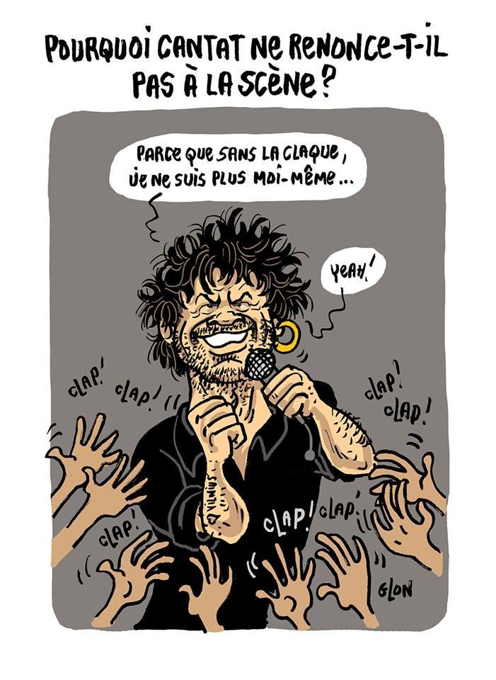 dessin humoristique de Bertrand Cantat sur scène pour la claque