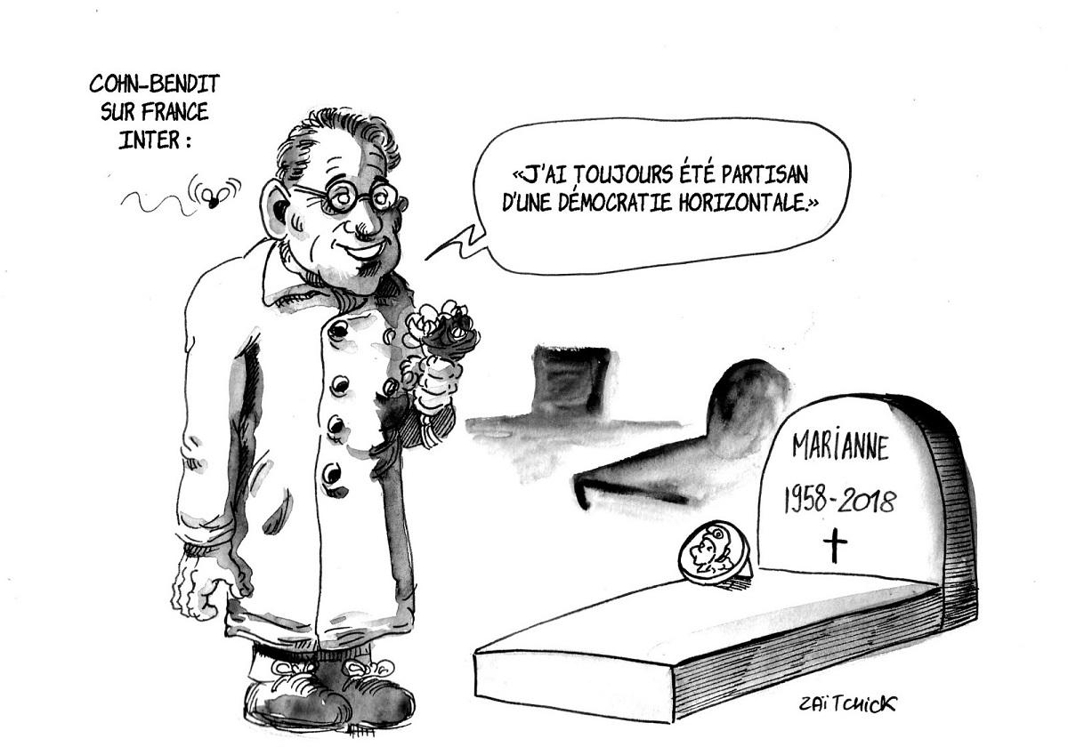 dessin humoristique de Daniel Cohn-Bendit sur la tombe de Marianne