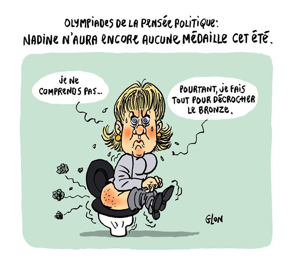 dessin humoristique de Nadine Morano aux toilettes essayant de préciser sa pensée politique