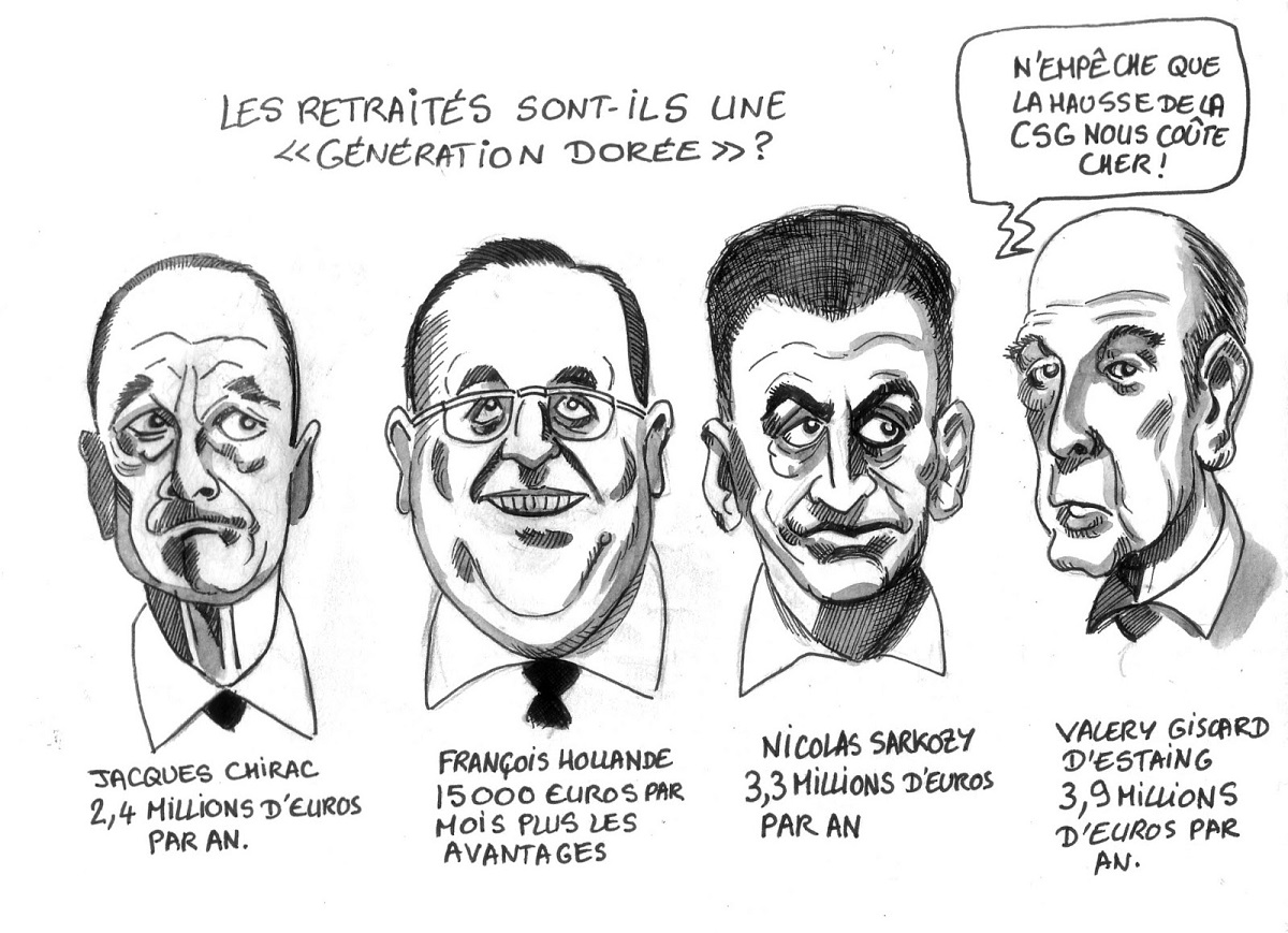 dessin humoristique des présidents retraités et du montant de leur retraite dorée