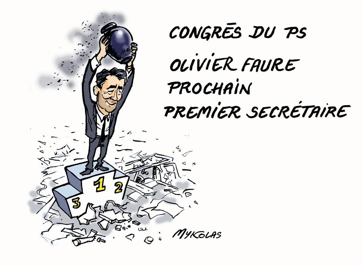 dessin humoristique d'Olivier Faure, sur le podium du Congré du PS tenant à bout de bras les cendres du Parti Socialiste