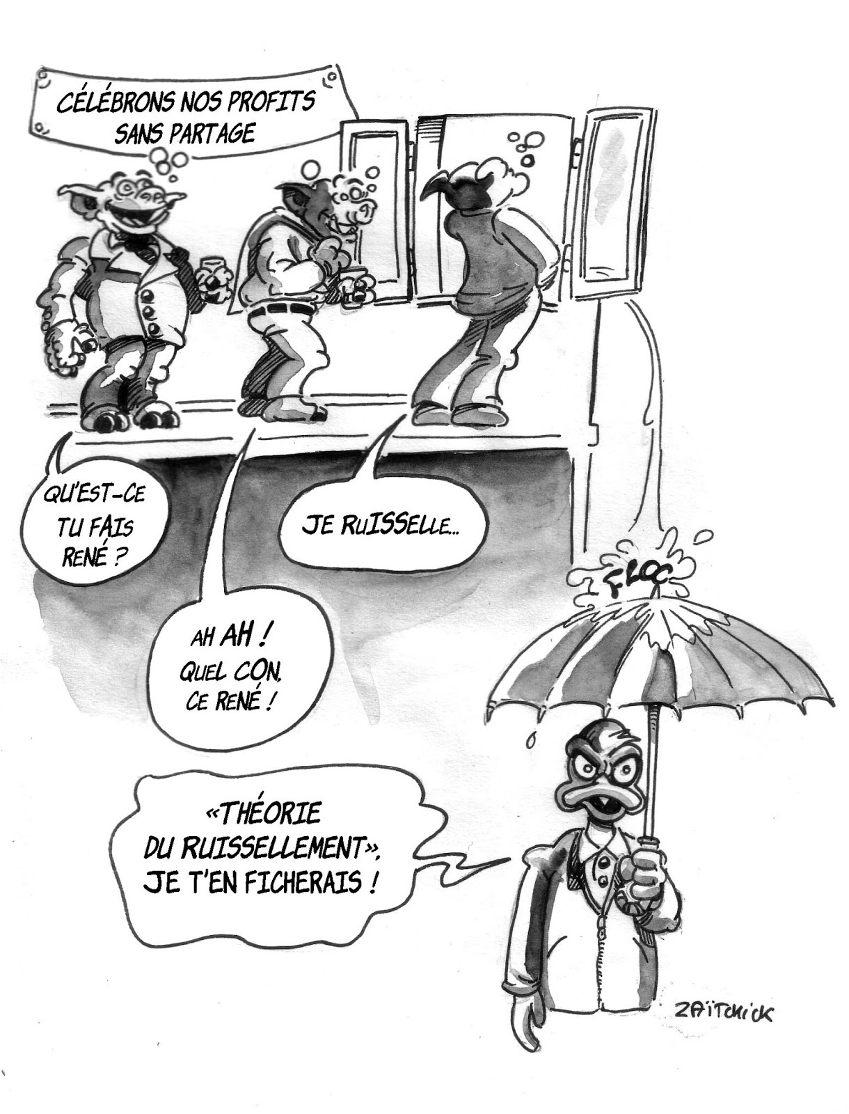 dessin humoristique illustrant la théorie du ruissellement