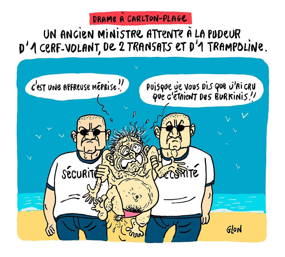 dessin humoristique de Dominique Strauss-Kahn arrêté pour attentat à la pudeur sur la plage du Carlton de Nice