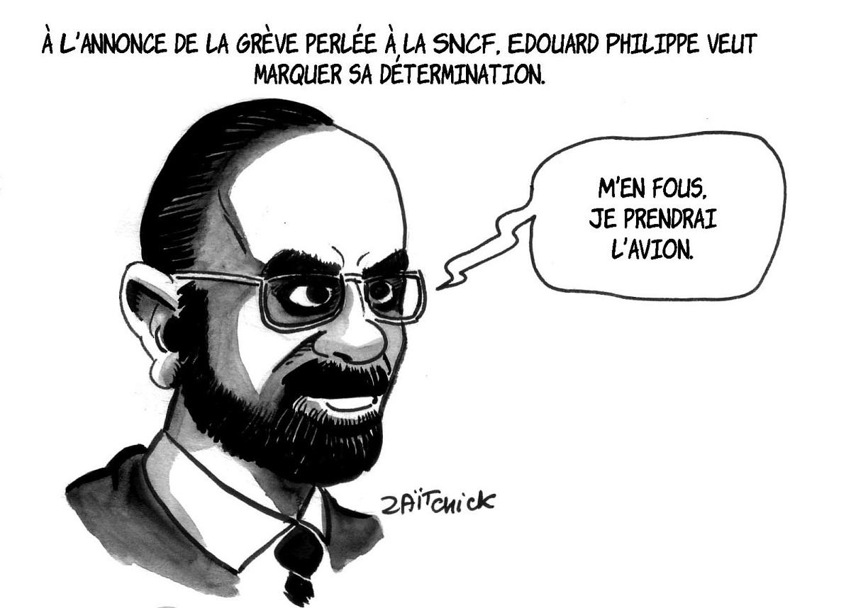dessin humoristique d'Édouard Philippe affichant sa détermination faxe à la grève perlée des cheminots