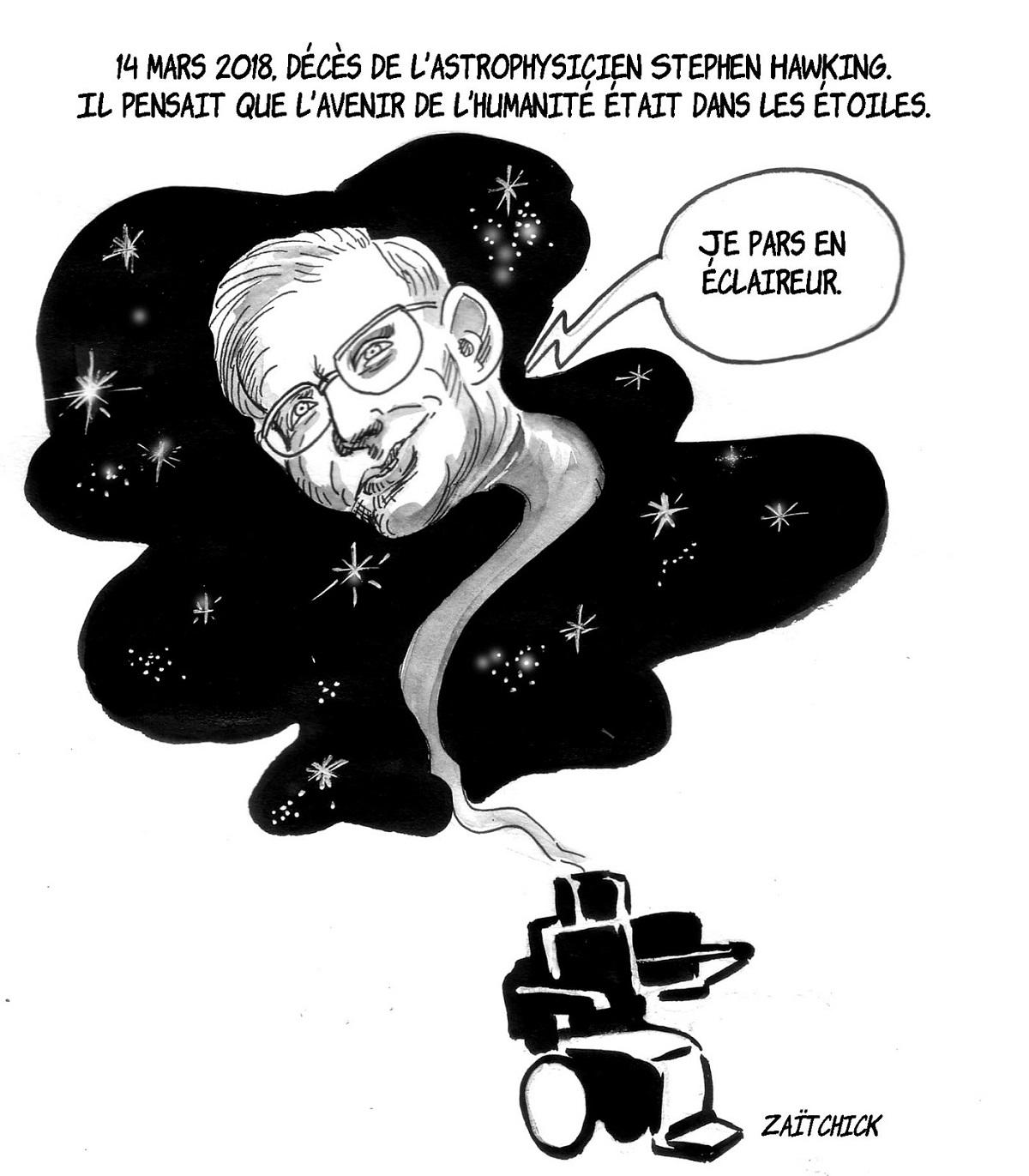 dessin humoristique de Stephen Hawking rejoignant les étoiles