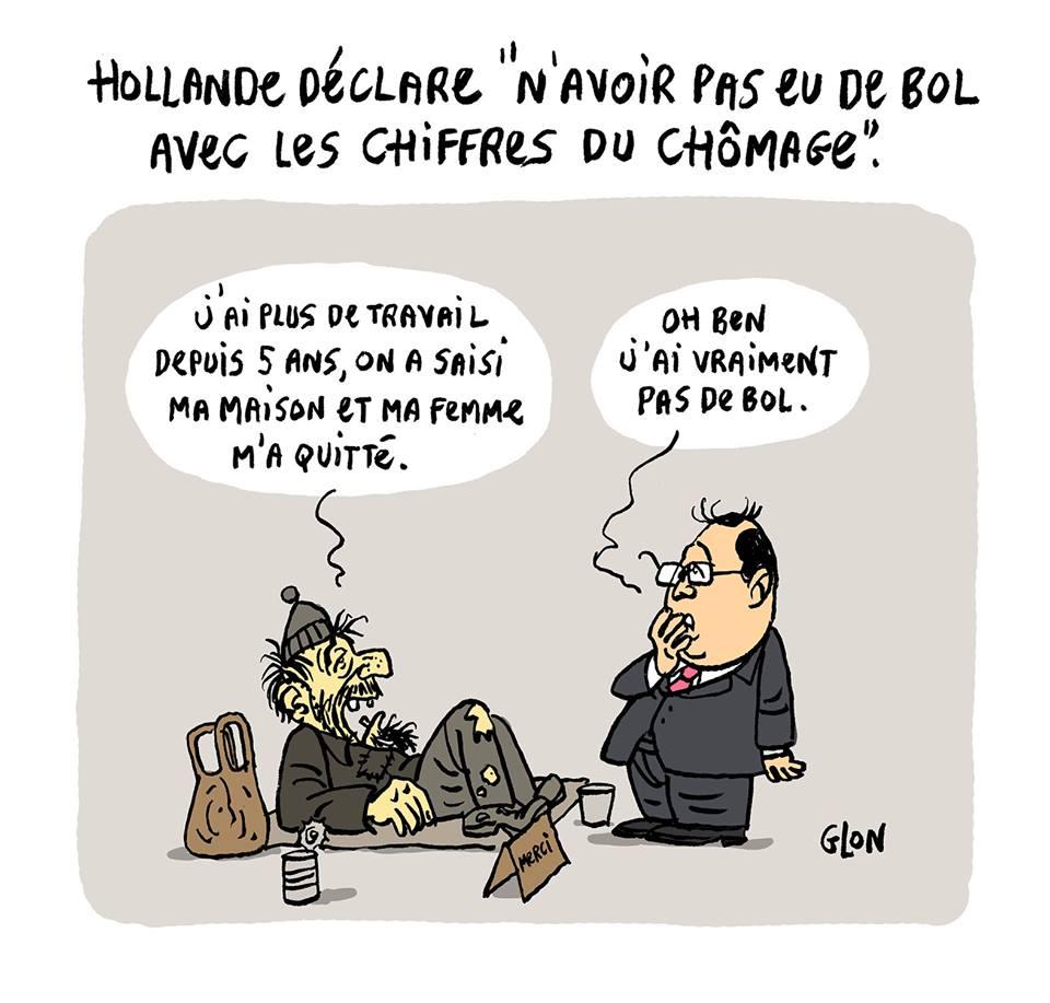 dessin humoristique de François Hollande se lamentant de sa malchance devant un SDF