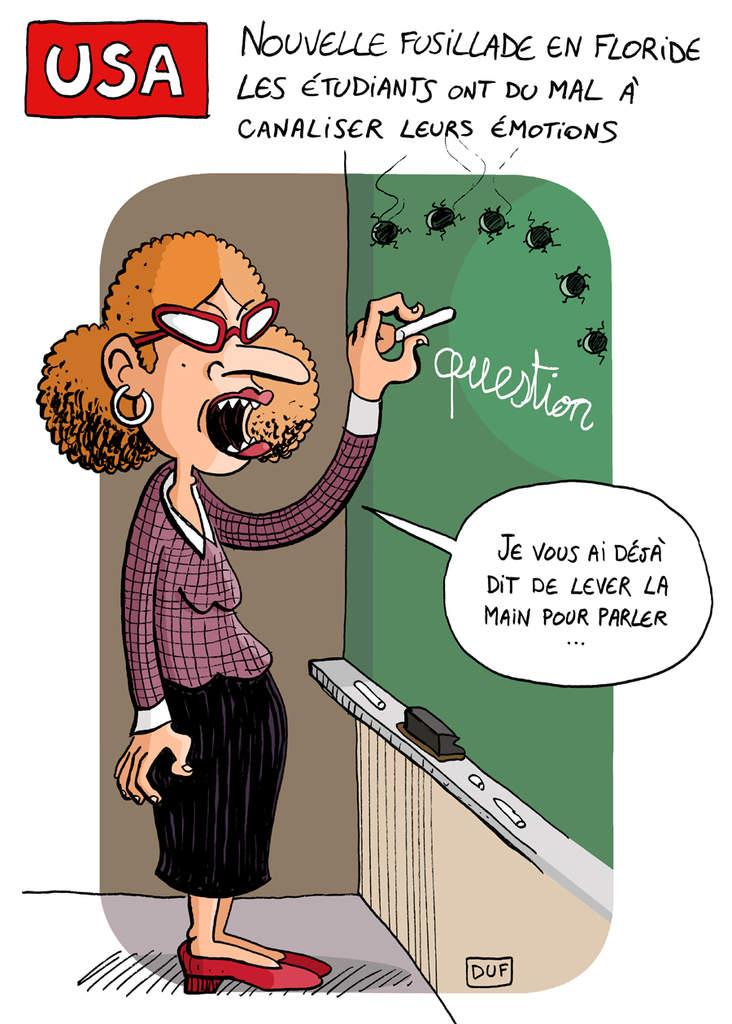 dessin humoristique d'une fusillade dans une classe aux États-Unis