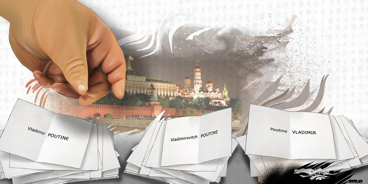 dessin humoristique des bulletins de votes de Vladimir Poutine lors des élections en Russie