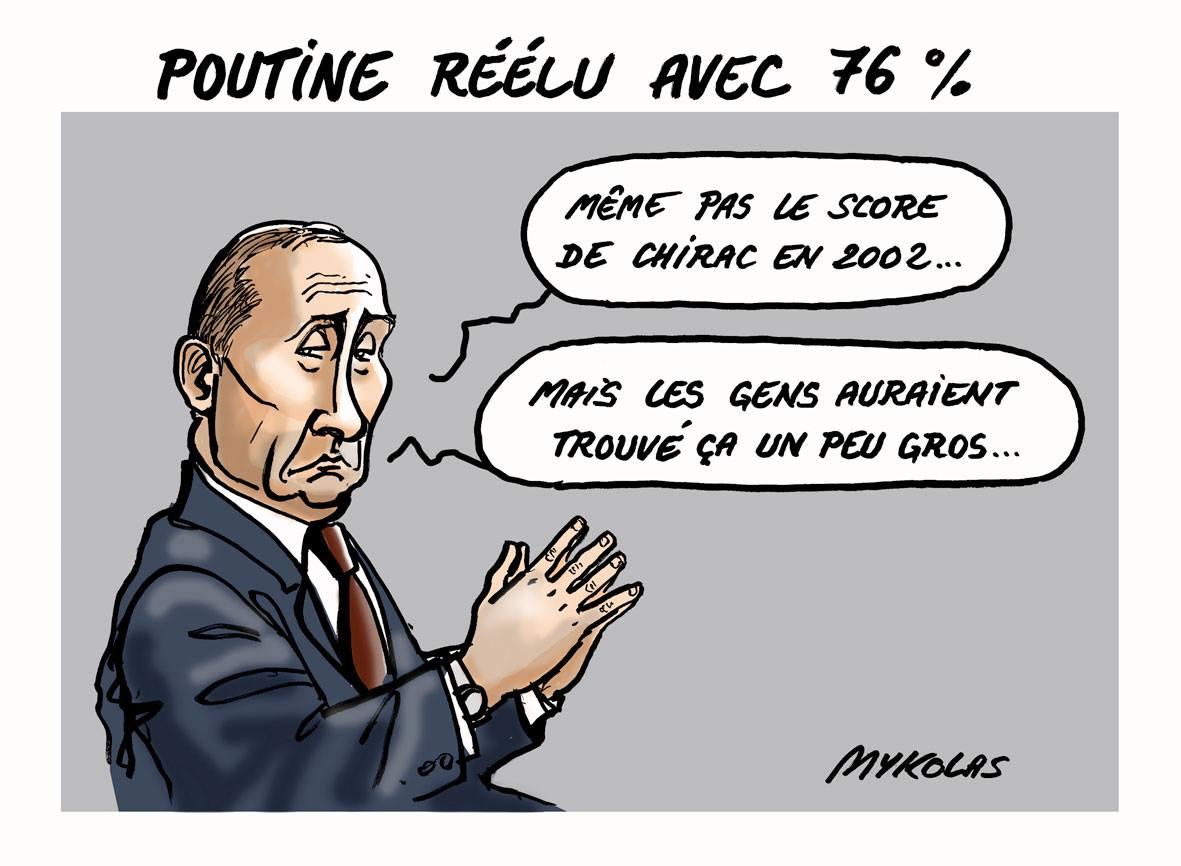 dessin drôle de Vladimir Poutine comparant son élection à celle de Jacques Chirac en 2002