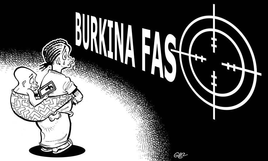 Dessin triste du Burkina Faso pris pour cible par des groupes terroristes
