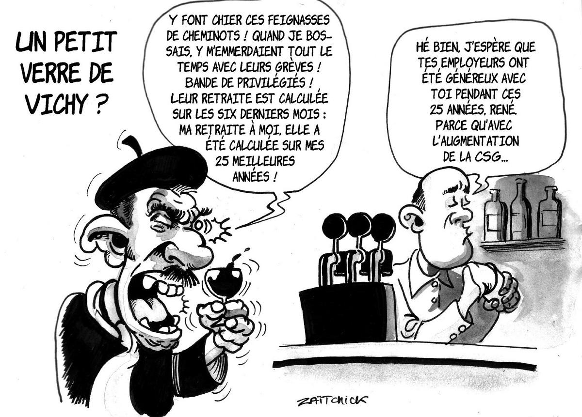 dessin humoristique d'un client de bar parlant de la réforme de la SNCF
