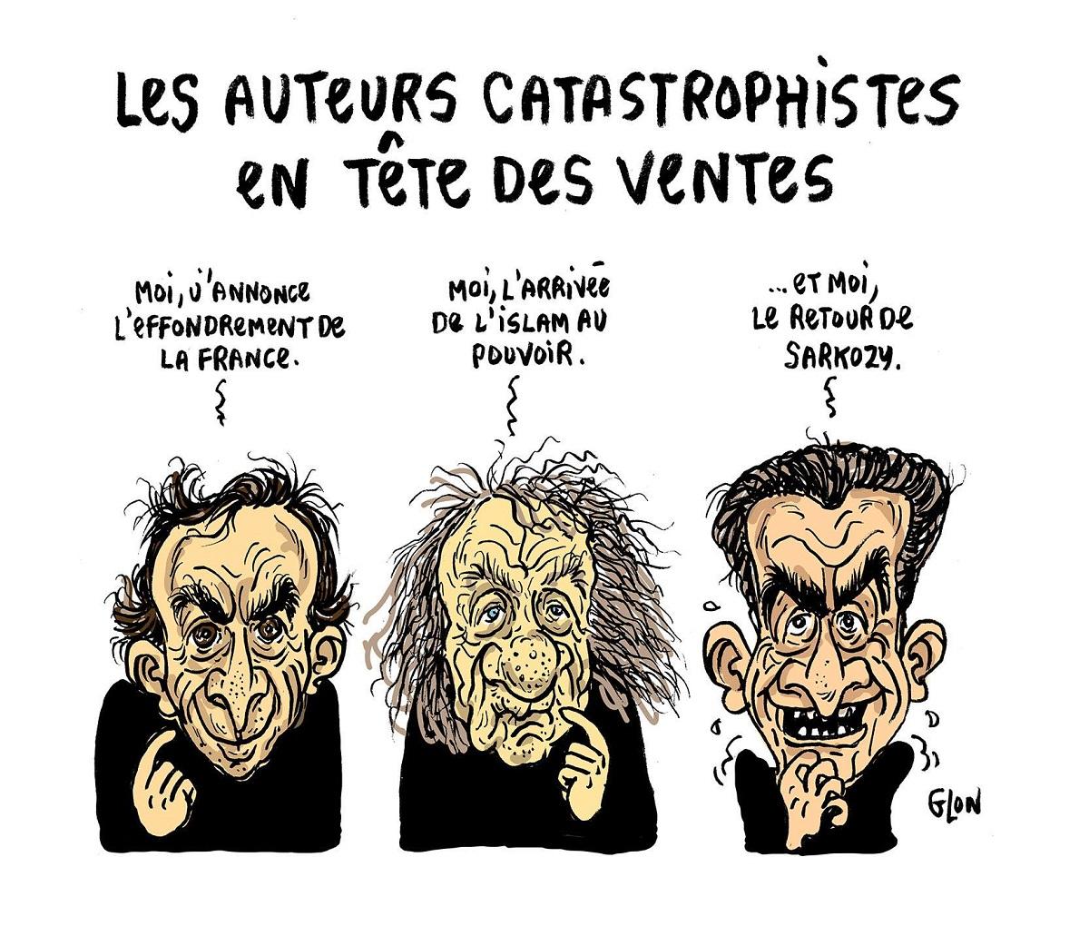 """dessin humoristique d""""Eric Zemmour, Michel Houellebecq et Nicolas Sarkozy en tant qu'auteurs de livres catastrophes"""