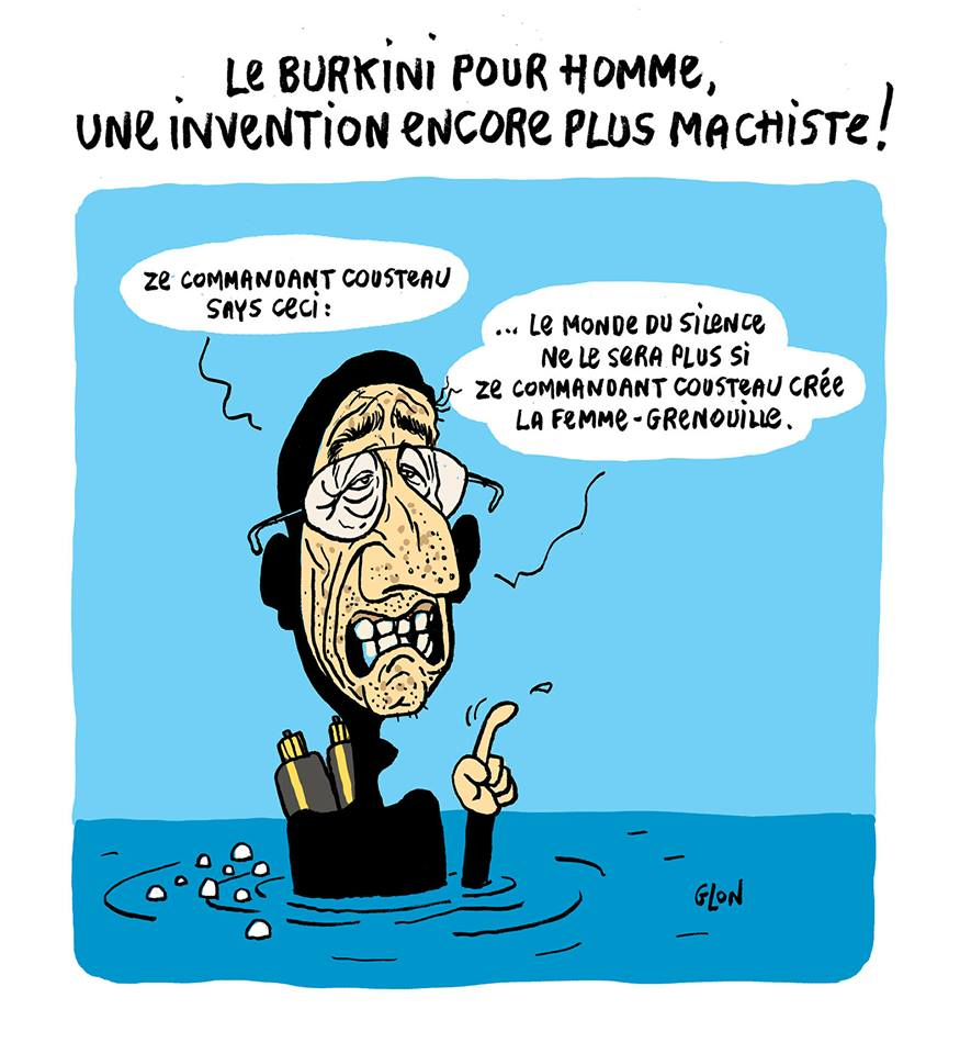 dessin humoristique du Commandant Cousteau testant le burkini pour hommes