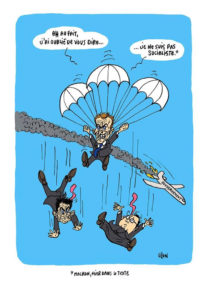 dessin humoristique d'Emmanuel Macron sautant en parachute de l'avion gouvernement qui s'écrase