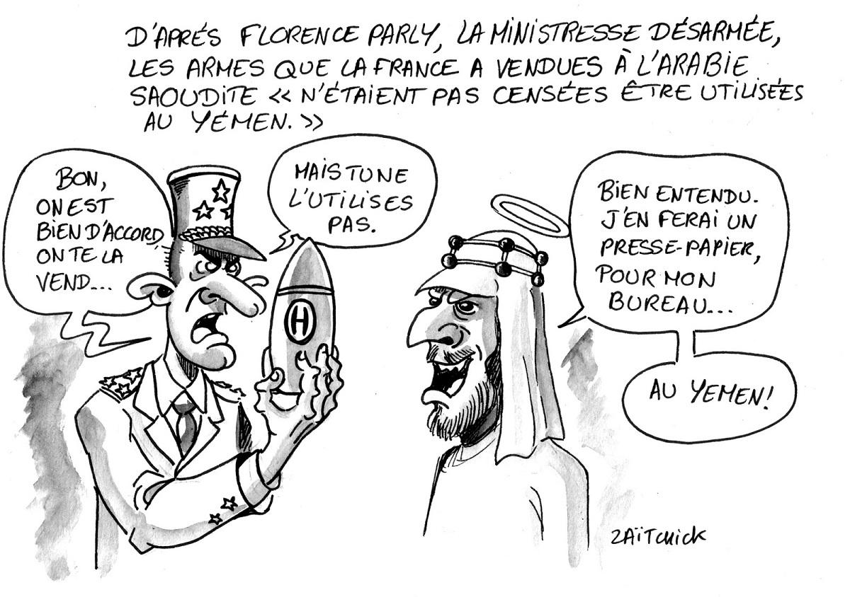 dessin humoristique d'un militaire français vendant des armes à l'Arabie Saoudite