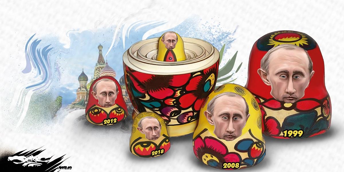 dessin humoristique de Vladimir Poutine en poupée russe