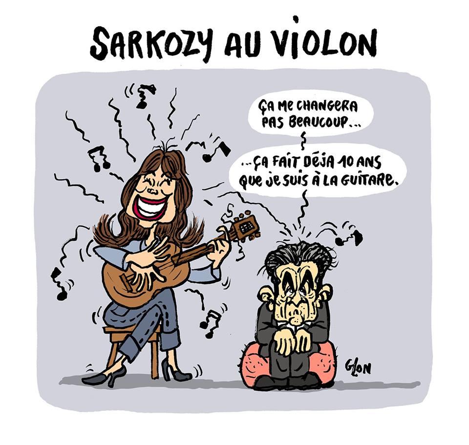 dessin humoristique de Nicolas Sarkozy en garde à vue par Carla Bruni
