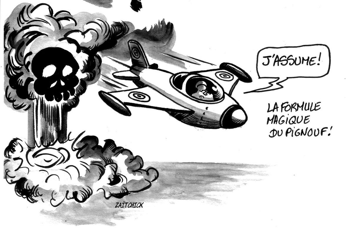 dessin humoristique d'un pilote venant de lancer une bombe mortelle et qui assume