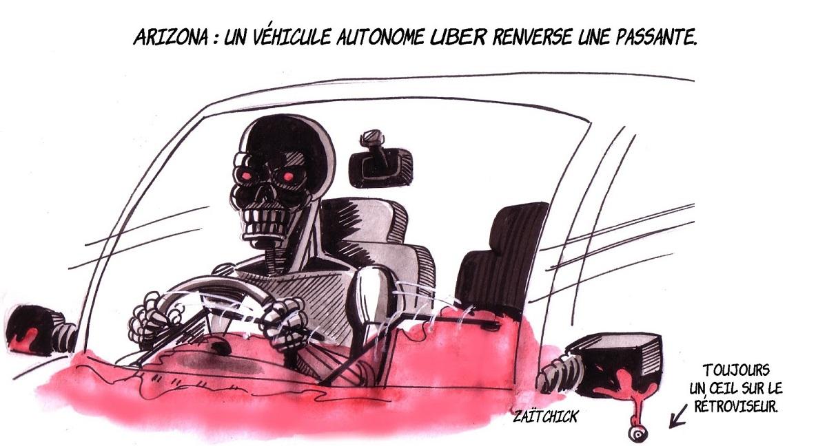 dessin humoristique d'une voiture conduite par un robot comme véhicule autonome