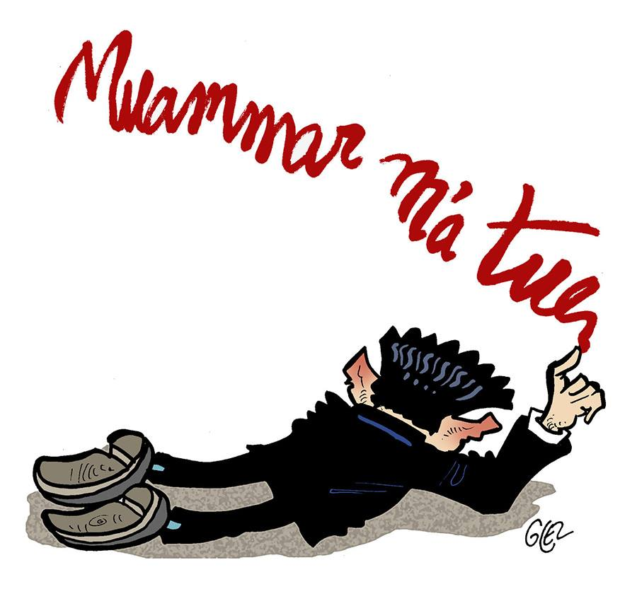 "dessin humoristique de Nicolas Sarkozy écrivant avec son sang ""Muammar m'a tuer"""
