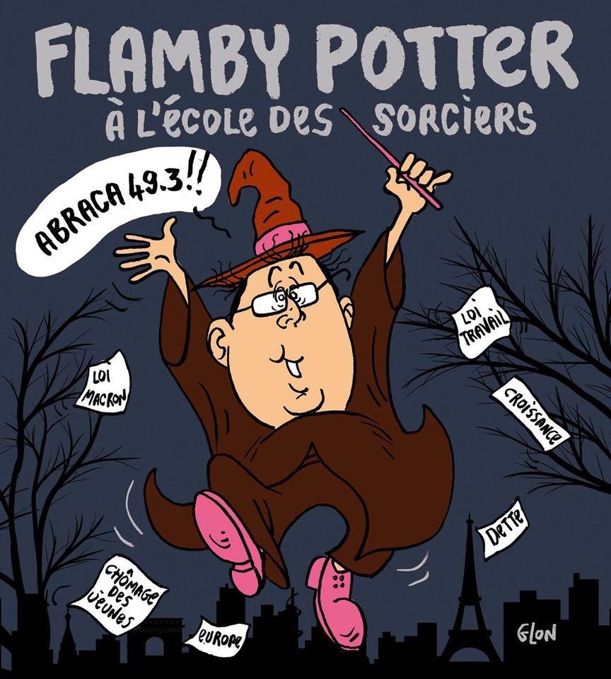 dessin d'actualité montrant François Hollande en Harry Potter maniant la baguette magique du 49.3