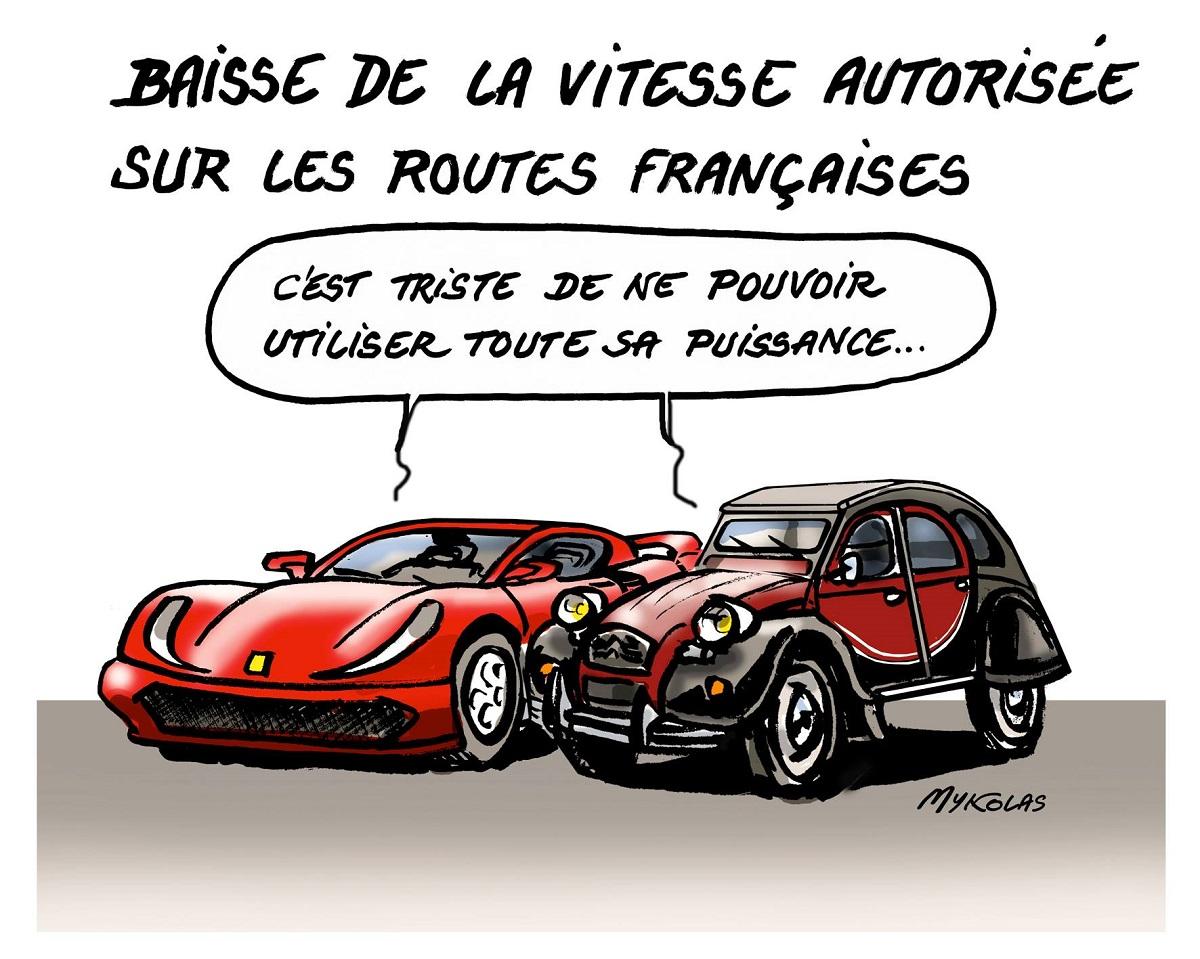dessin humoristique d'une 2CV et d'une Ferrari se lamentant de la limitation de la vitesse à 80km/h