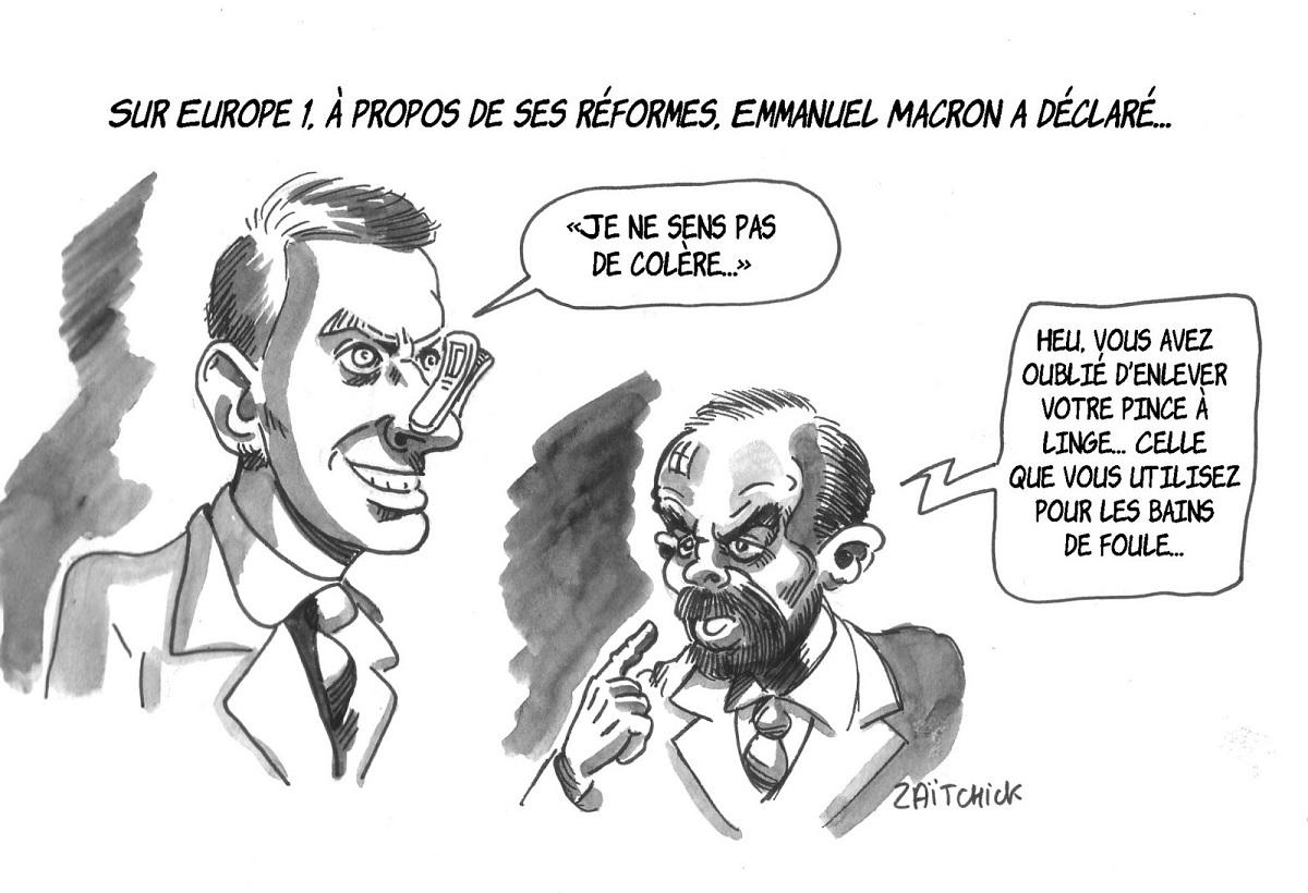 dessin humoristique d'Emmanuel Macron parlant à Édouard Philippe de la colère des français