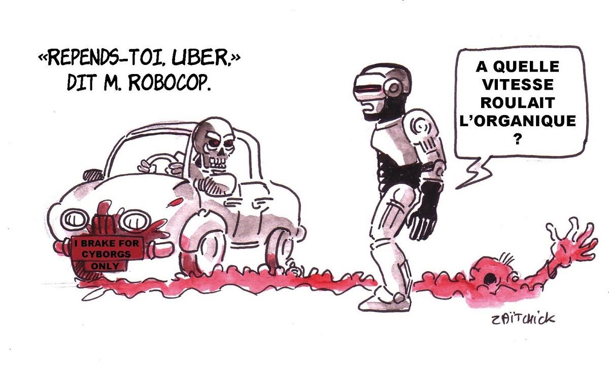 dessin humoristique de Robocop arrêtant une voiture autonome