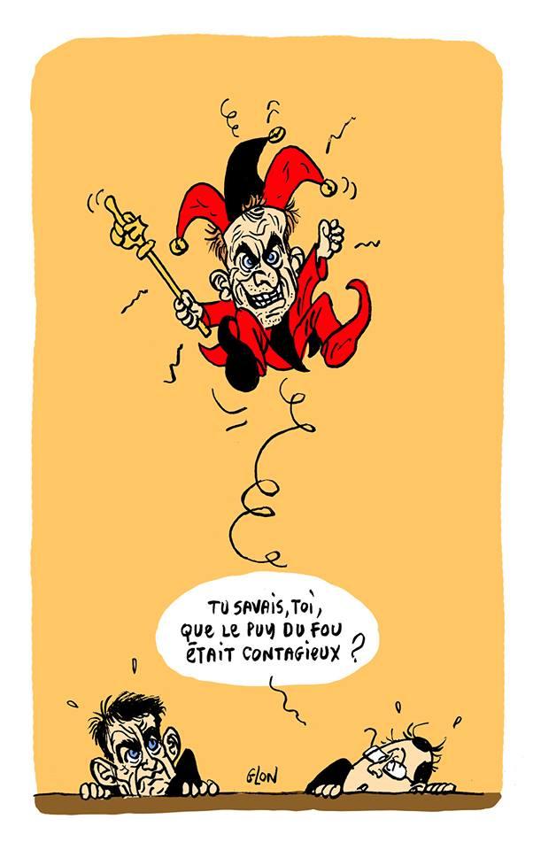 dessin humoristique d'Emmanuel Macron en fou du Roi